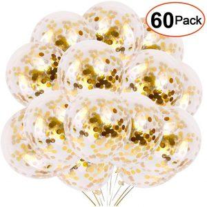 globos confetis dorados fiestas