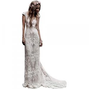 Vestido de novia de encaje con cuello en V y espalda abierta para mujer